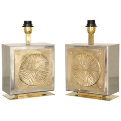 Pair of Italian Brass and Nickel Table Lamps