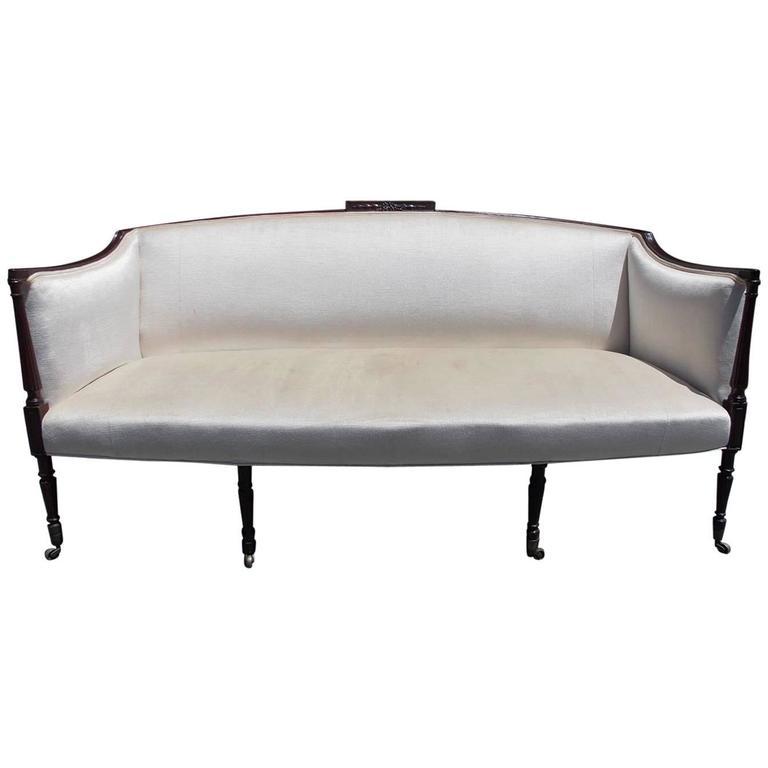 American Mahogany Sheraton Style Upholstered Sofa, Circa 1880 For Sale