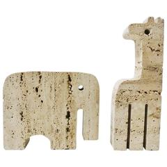 Set of Two Animals Sculptures in Travertine by Fratelli Mannelli