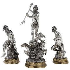 Antique Italian Eugenio Avolio Solid Silver Sculptures, Naples, circa 1930