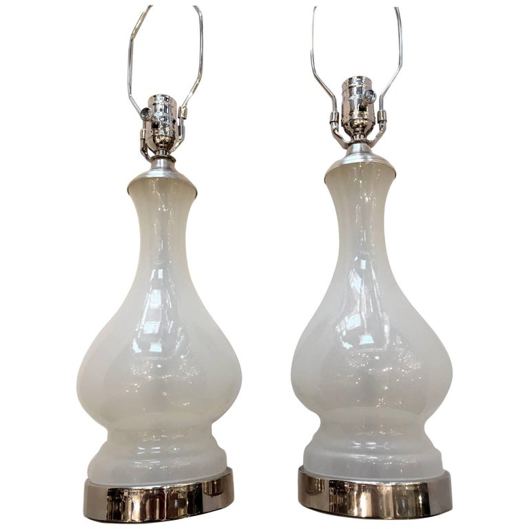 White Opaline Glass Table Lamps