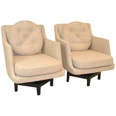 Pair of Mid-Century Modern Dunbar Swivel Base Armchairs