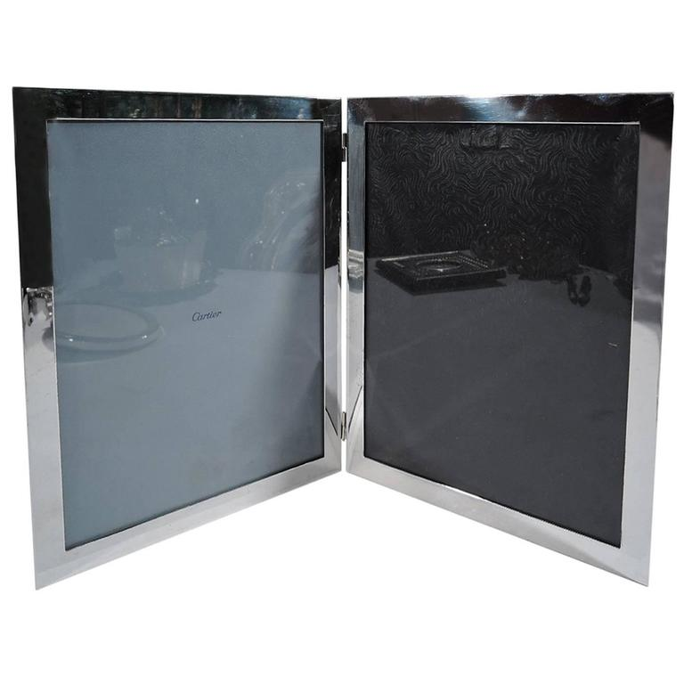 American Sterling Silver Double Diptych Picture Frame For Sale