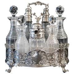 Antique English Victorian Silver Seven Bottle Cruet by George Fox