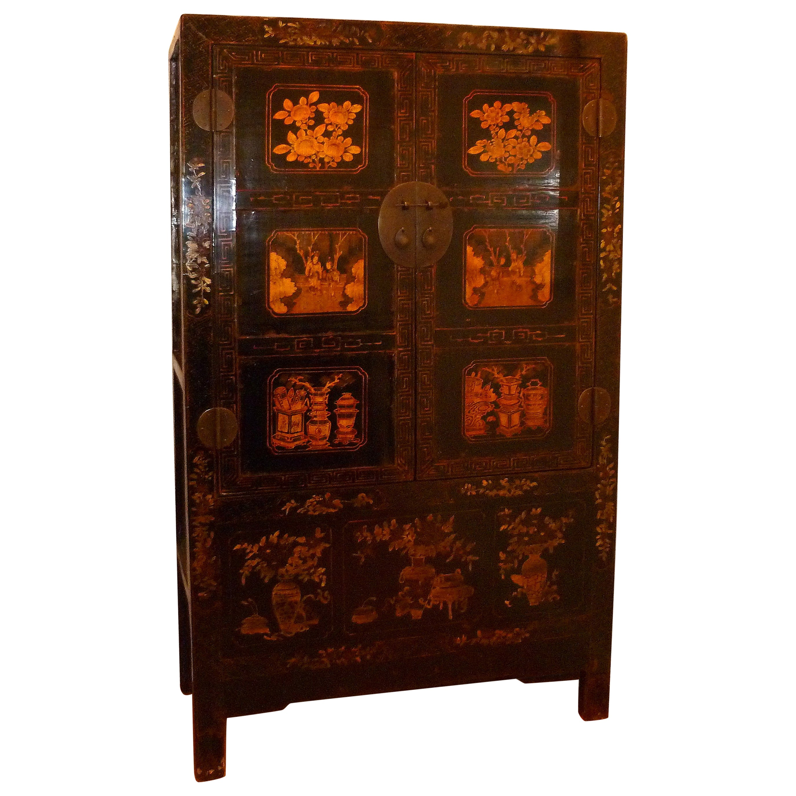 Black Lacquer Armoire with Gilt Motif