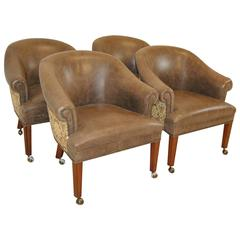 Set of Four Leather and Tapestry Upholstered Tub Chairs by Hancock & Moore