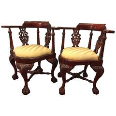Pair of Chinese Chippendale Style Corner Armchairs