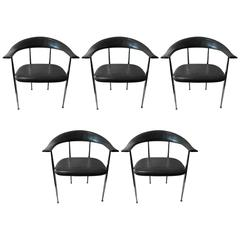 Set of Five Italian Modern Possibly Giancarlo Vegni Leather and Chrome Chairs
