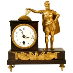 French Empire Bronze Ormolu-Mounted Figural Clock, Early 19th c