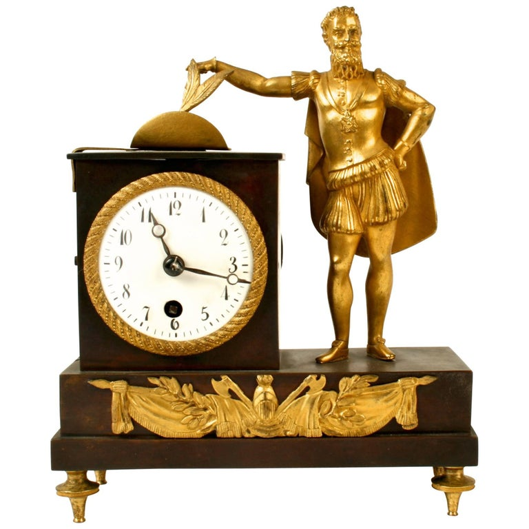 French Empire Bronze Ormolu-Mounted Figural Clock, Early 19th c For Sale