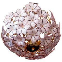 Extra Large Vintage Italian Pink Murano Flower Venini Art Glass Chandelier