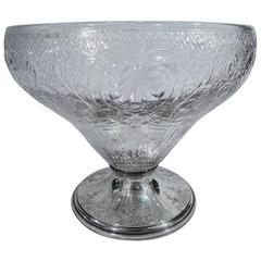 Gorham Edwardian Sterling Silver and Crystal Centerpiece Bowl