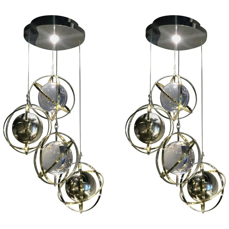Pair of brass stainless steel and lucite armillary sphere pair of brass stainless steel and lucite armillary sphere chandeliers for sale aloadofball Image collections