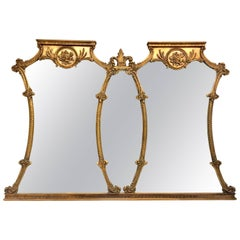 Mid-20th Century Monumental French Style Carved Gilt Wood Triptych Wall Mirror
