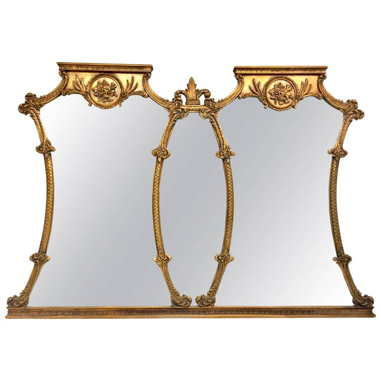 Mid-20th Century Monumental French Style Carved Gilt Wood Triptych Wall Mirror For Sale