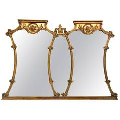 20th Century Carved Gilt Wood Triptych Wall Mirror