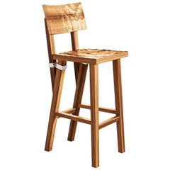 """""""Torquemada"""" Carved Brushed Oak or Lacquered Beech Stool by P. Starck for Driade"""