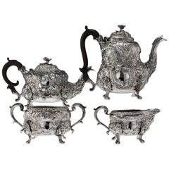 Antique Georgian Solid Silver Exceptional Tea and Coffee Set, circa 1818-1820