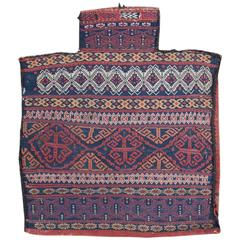 Late 19th Century Red and Blue Afshar Weft Flat-Weave Salt Bag Rug