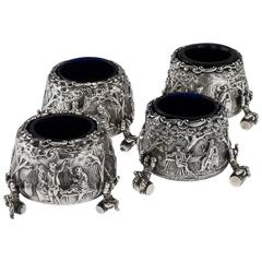 Antique Victorian Solid Silver Matched Set of Four Teniers Salts circa 1863-1874