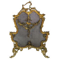Wonderful French Bronze Fireplace Ormolu Fire Place Screen Butterfly Garland