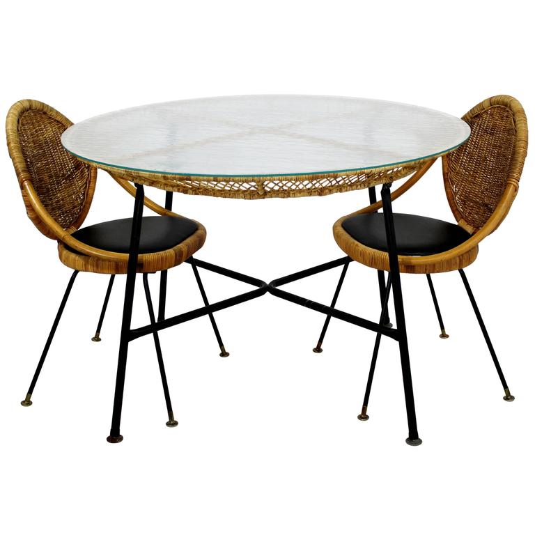 Mid Century Modern Danny Fong Tropical Bamboo Rattan Iron Patio Table Two  Chairs For Sale