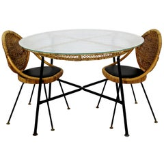 Mid-Century Modern Danny Fong Tropical Bamboo Rattan Iron Patio Table Two Chairs