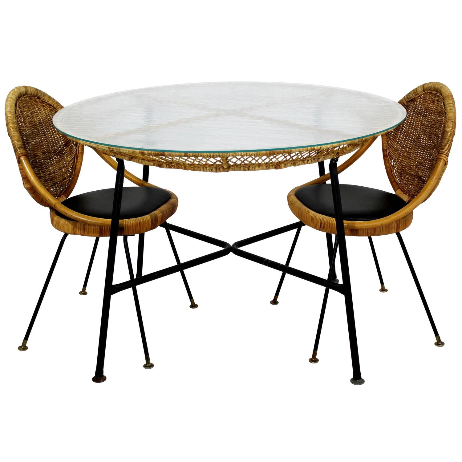 Mid-Century Modern Danny Fong Tropical Bamboo Rattan Iron Patio ...