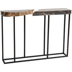 FOUND Console Table No.1 in Grey Marble and Black Steel