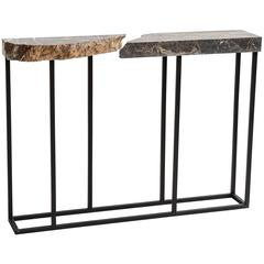 FOUND Console Table in Grey Marble and Black Steel