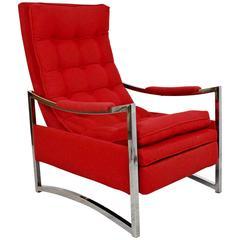 Mid-Century Modern Baughman Attributed Chrome Recliner Chair Robert Allen Wool