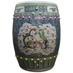 Chinese Qing Dynasty Famille Rose Dragon and Phoenix Porcelain Garden Stool