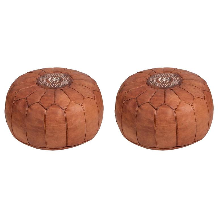 Pair Of Round Moroccan Leather Poufs For Sale At 40stdibs Simple Poufs On Sale