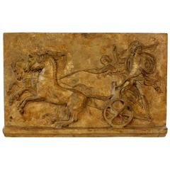 Academic Plaster Roman Frieze of Chariot Race with King Oinamoas