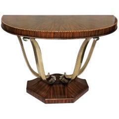 Wonderful French Art Deco Exotic Macassar Ebony Brushed Steel Console Table