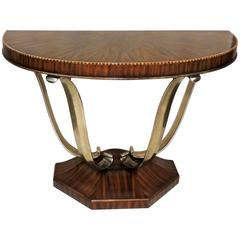 Wonderful French Art Deco Exotic Macassar Ebony Brushed Steel Console Table