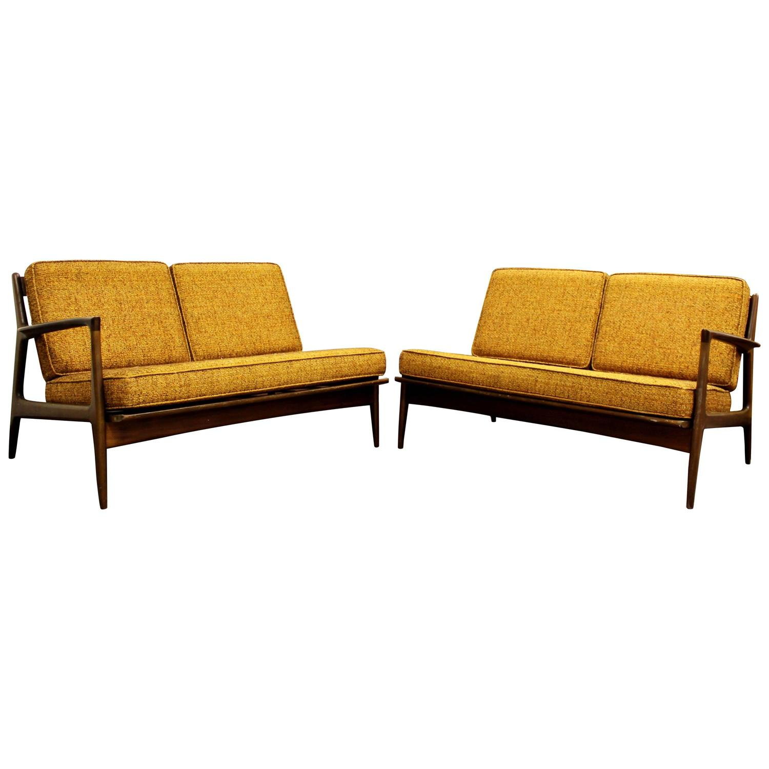 This sculptural pair of lounge chairs by ib kofod larsen is no longer - Mid Century Modern Danish Ib Kofod Larsen Selig Pair Of Walnut Sofa Sectional For Sale At 1stdibs