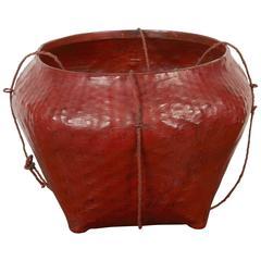 Vintage Burmese Lacquer Market Basket