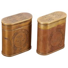Pair of Vintage Tobacco Containers