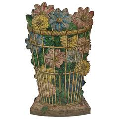 Mid Century Modern,Fornasetti Umbrella Stand with Wicker Basket and Floral Motif