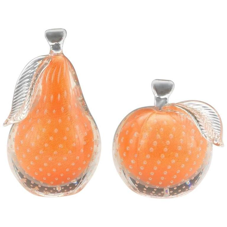 Alfredo Barbini Two Pieces Of Venetian Glass Fruit