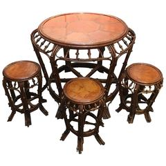 Chinese Bent Bamboo Round Table and Stools, Mid-19th Century