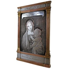 French Memorial Easel Featuring Madonna & Child by F. Biscay & Cie