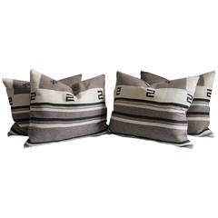 Monumental Striped Texcoco Indian Weaving Pillows, Pair