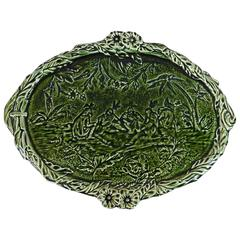 19th Green Majolica Wall Platter with Native Indians