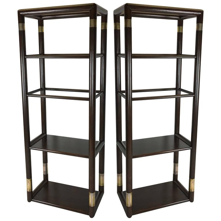 """Pair of """"Large Dowel"""" Etageres with Patinated Steel Mounts"""