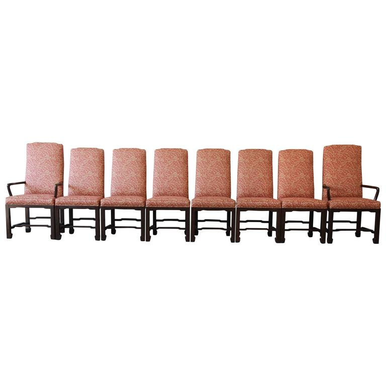 Mario Buatta for John Widdicomb Chinoiserie Dining Chairs, Set of Eight