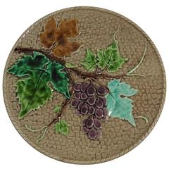 19th Century Majolica Grapes Plate Lunéville