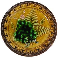 Majolica Fern & Leaves Plate Sarreguemines Circa 1900