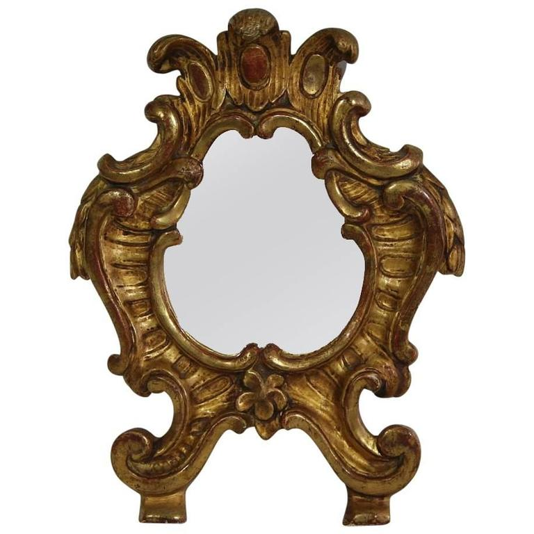 Small 19th century italian giltwood baroque style mirror for Small baroque mirror